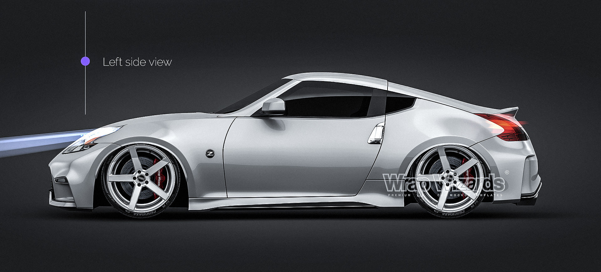 Nissan 370z Nismo 2015 glossy finish - all sides Car Mockup Template.psd