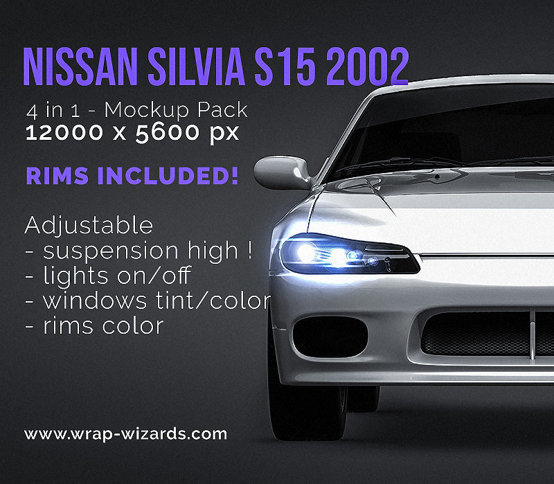 Nissan Silvia S15 2002 all sides Car Mockup Template.psd