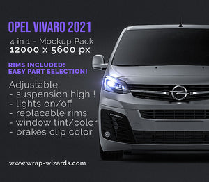 Opel Vivaro 2021 all sides Car Mockup Template.psd