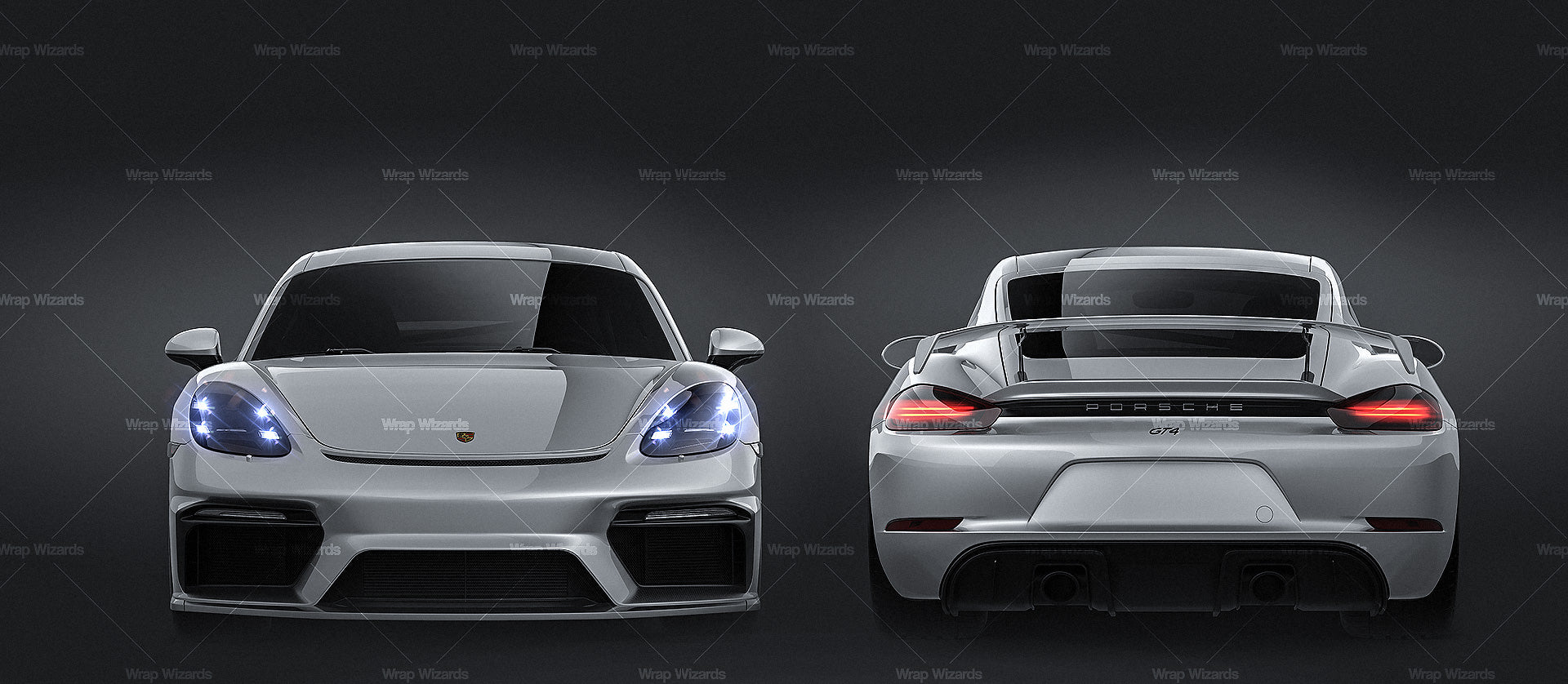 Porsche 718 Cayman GT4 2020 all sides Car Mockup Template.psd
