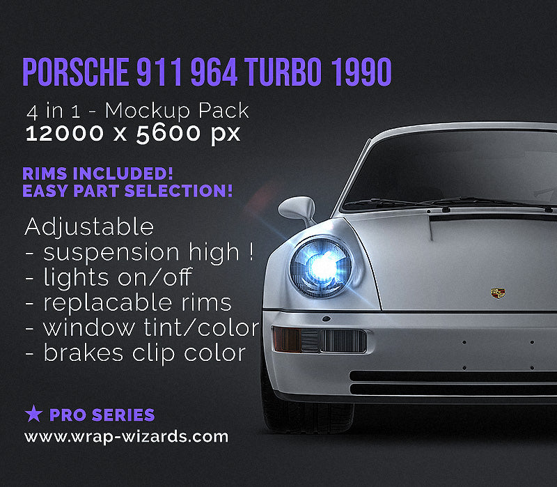 Porsche 911 964 Turbo 1990 all sides Car Mockup Template.psd