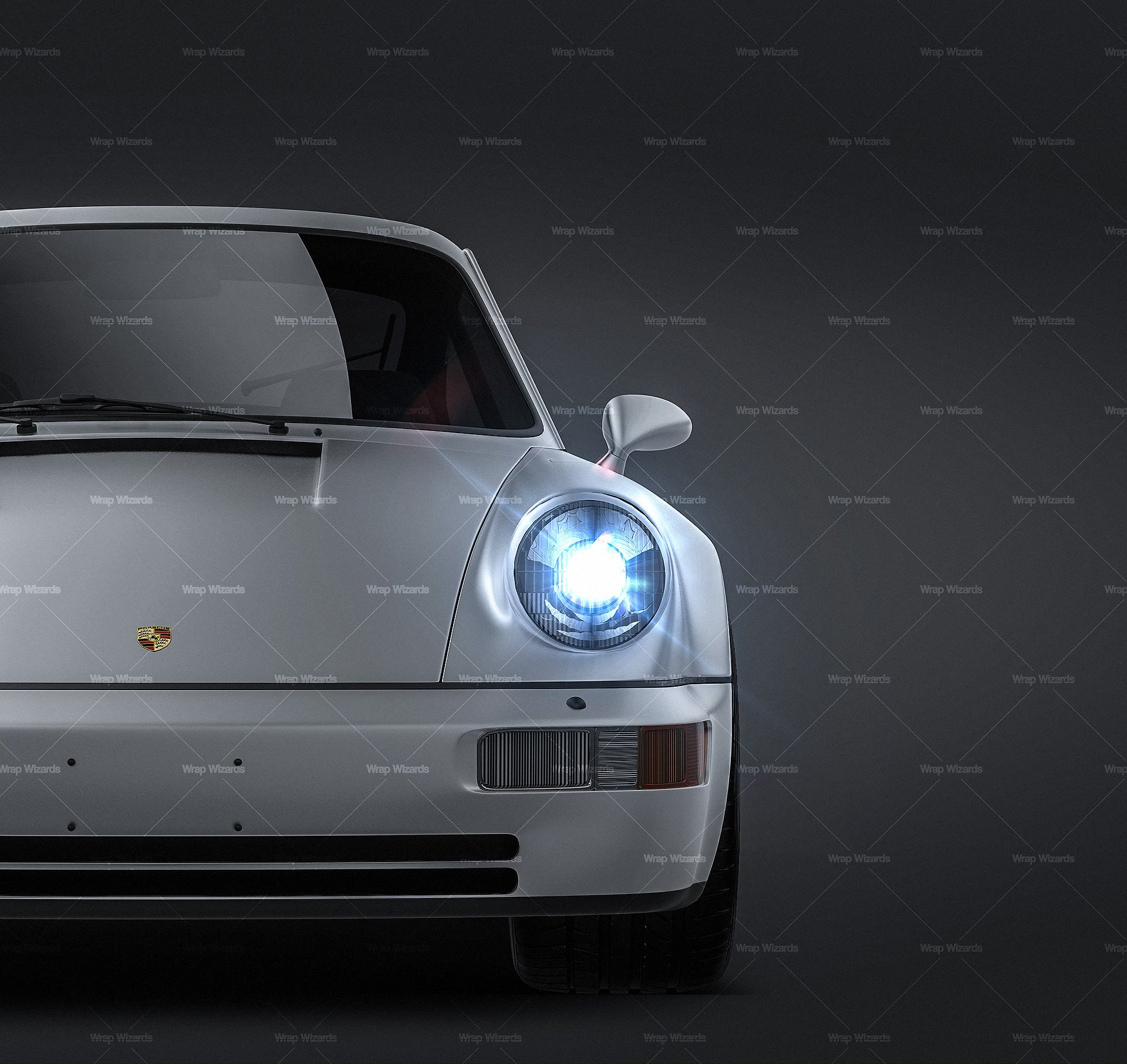 Porsche 911 964 Turbo 1990 satin matt finish - all sides Car Mockup Template.psd