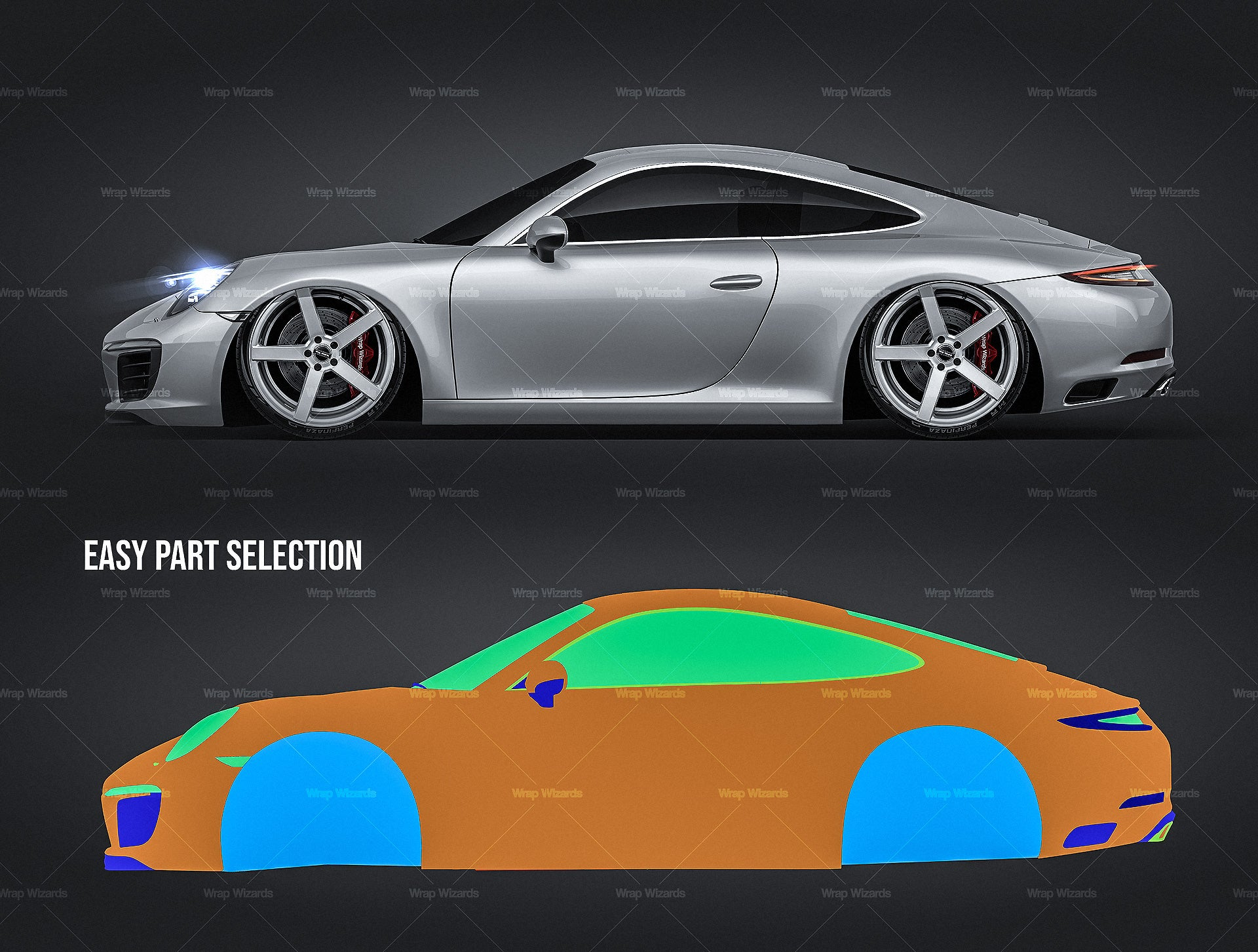 Porsche 911 Carrera Coupe 2016 all sides Car Mockup Template.psd