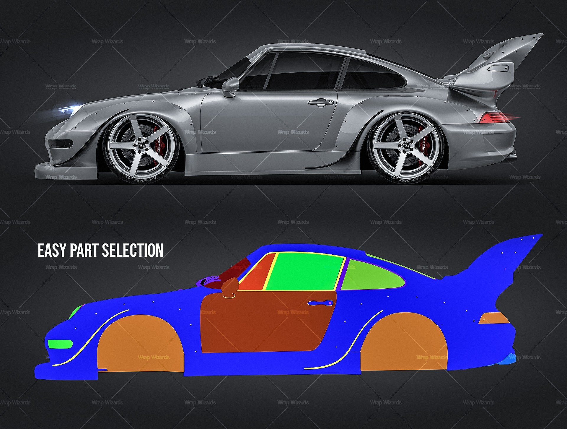 Porsche 911 GT2 RWB all sides Car Mockup Template.psd