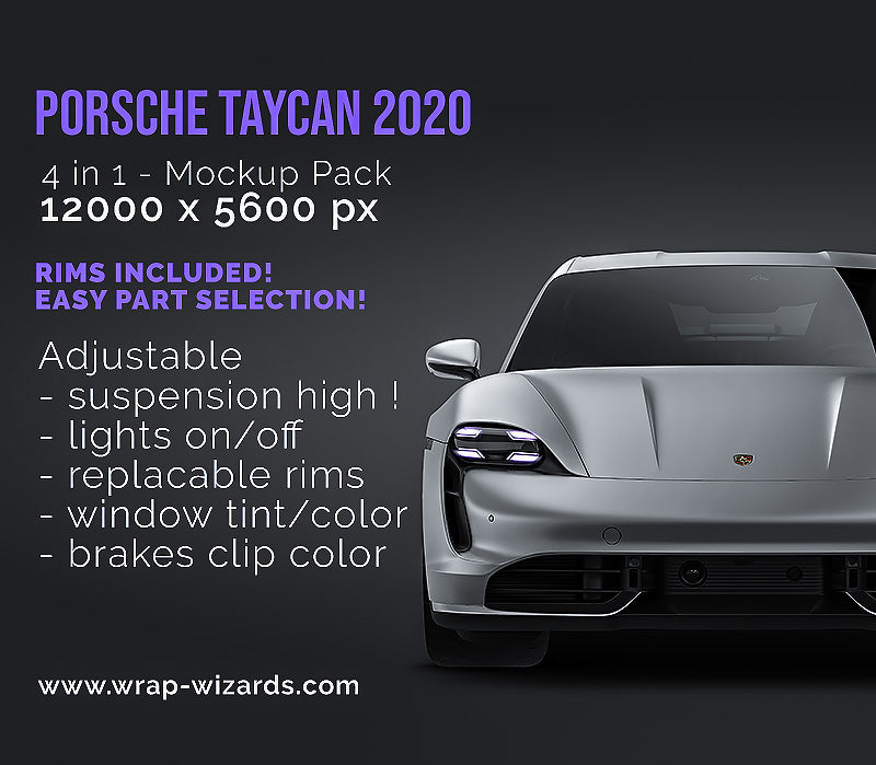 Porsche Taycan 2020 satin matt finish - all sides Car Mockup Template.psd