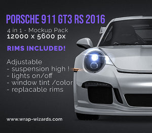 Porsche 911 GT3 RS 2016 all sides Car Mockup Template.psd