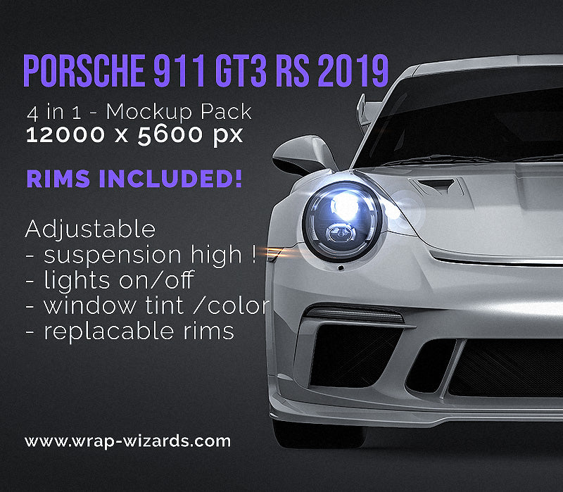 Porsche 911 GT3 RS 2019 all sides Car Mockup Template.psd