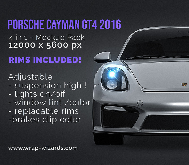 Porsche Cayman GT4 2016 all sides Car Mockup Template.psd