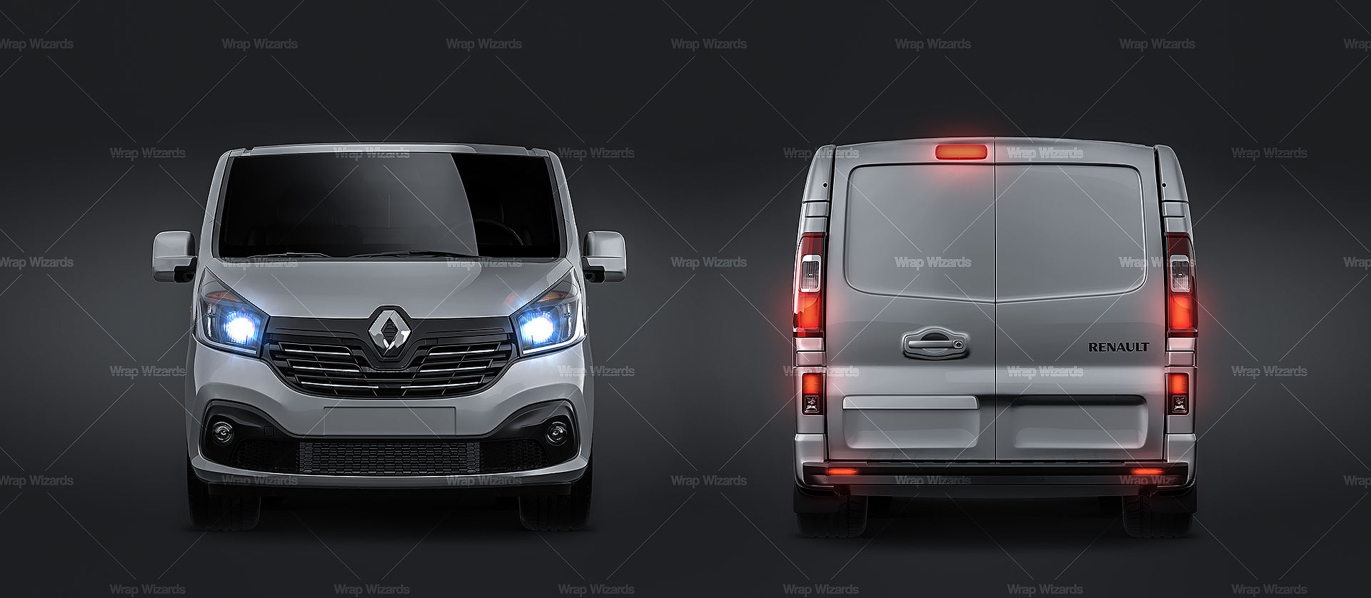 Renault Trafic Cargo 2015-2018 glossy finish - all sides Car Mockup Template.psd
