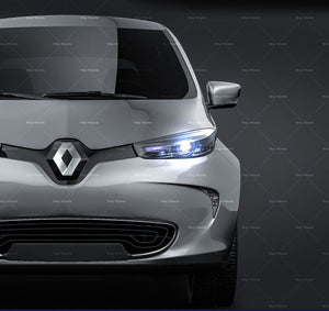 Renault Zoe 2017 glossy finish - all sides Car Mockup Template.psd