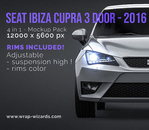 SEAT IBIZA CUPRA 3 door - 2016 all sides Car Mockup Template.psd