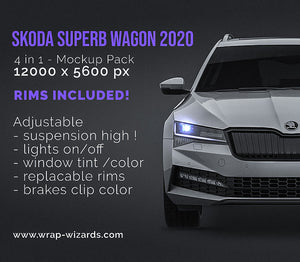 SKODA SUPERB WAGON 2020 all sides Car Mockup Template.psd