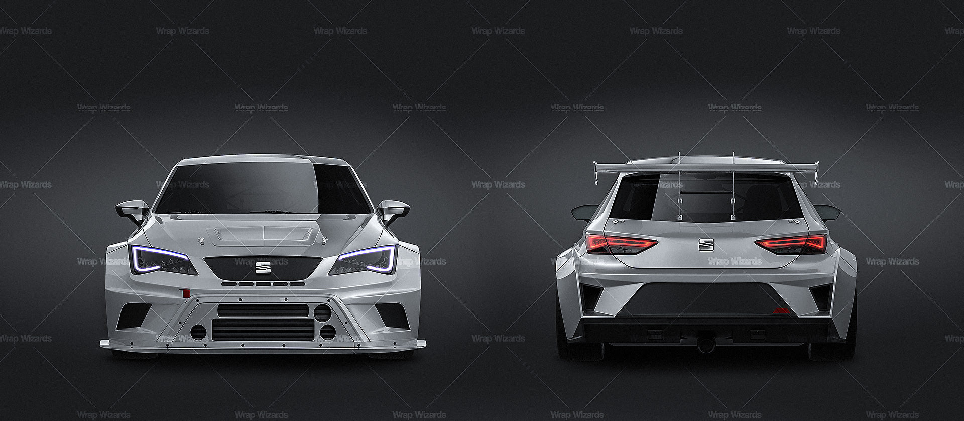 Seat Leon Cup Racer 2014 all sides Car Mockup Template.psd