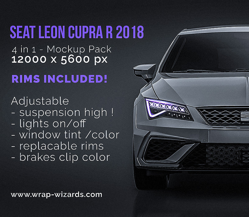 Seat Leon Cupra R 2018 - all sides Car Mockup Template.psd