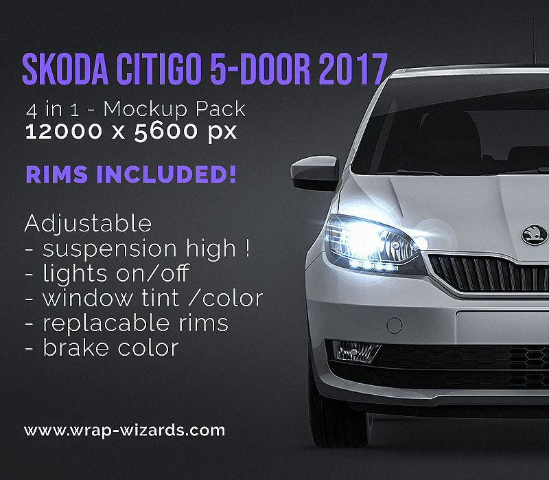 Skoda CitiGo 5-door 2017 all sides Car Mockup Template.psd