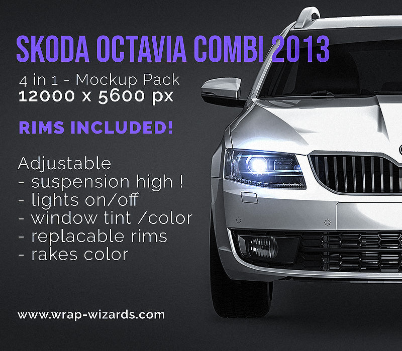 Skoda Octavia Combi 2013 all sides Car Mockup Template.psd