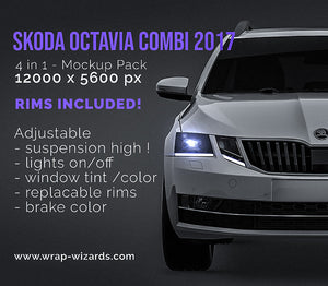 Skoda Octavia Combi 2017- all sides Car Mockup Template.psd