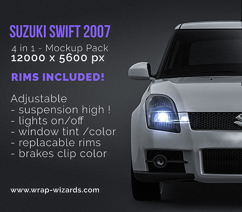 Suzuki Swift 2007 - all sides Car Mockup Template.psd