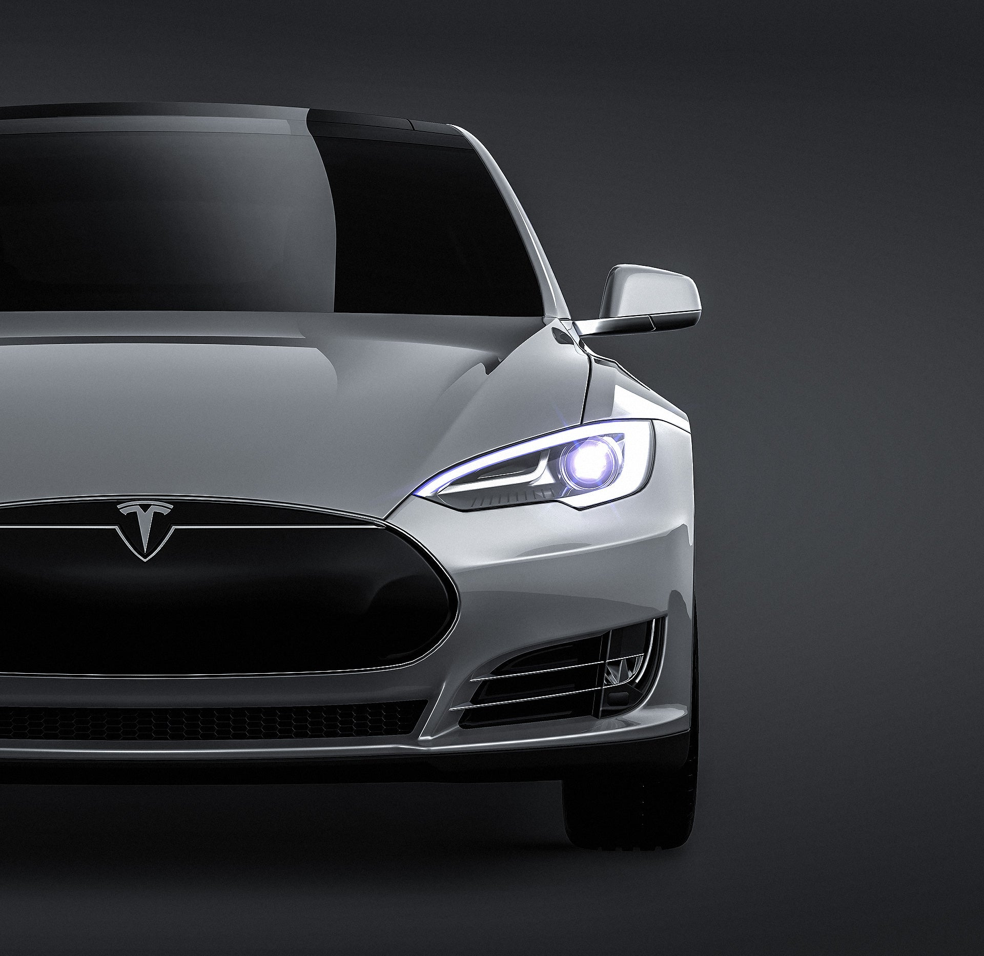 Tesla Model S glossy finish - all sides Car Mockup Template.psd