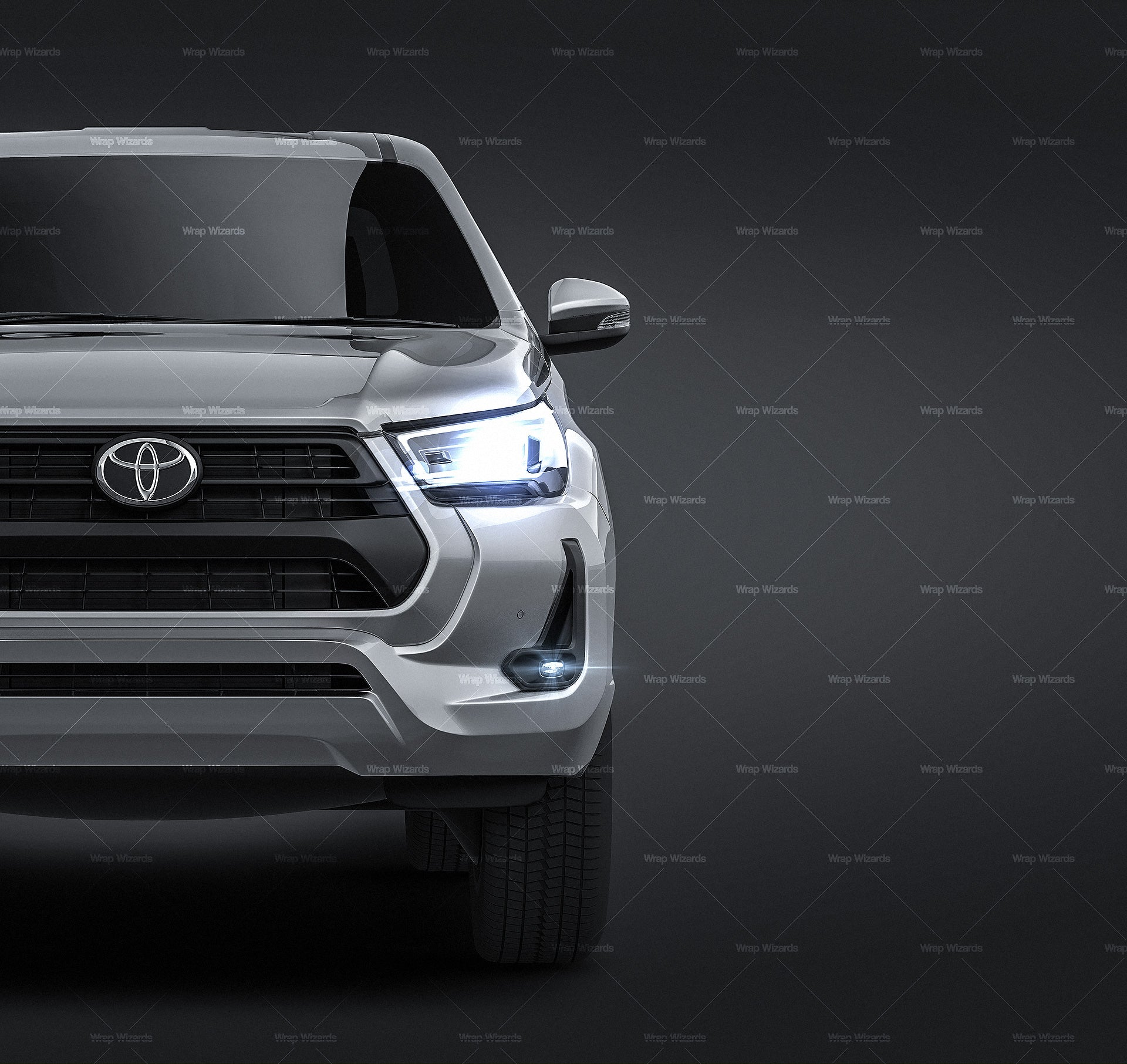 Toyota Hilux Double Cab 2020 all sides Car Mockup Template.psd