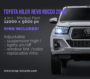 Toyota Hilux Revo Rocco 2018 all sides Car Mockup Template.psd
