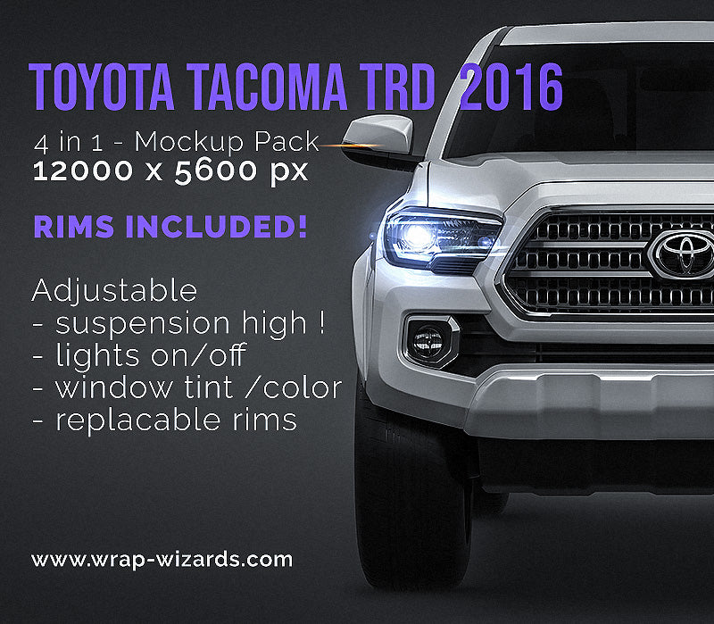 Toyota Tacoma TRD Off-Road 2016 all sides Car Mockup Template.psd