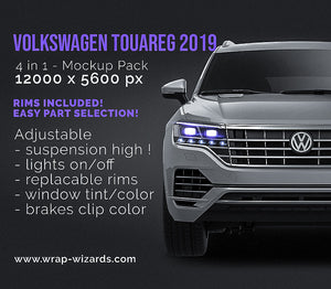 Volkswagen Touareg 2019 all sides Car Mockup Template.psd