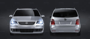 Volkswagen Touran 2007 - all sides Car Mockup Template.psd