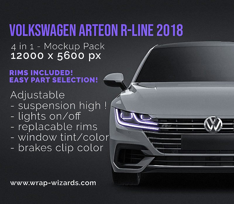 Volkswagen Arteon R-Line 2018 all sides Car Mockup Template.psd