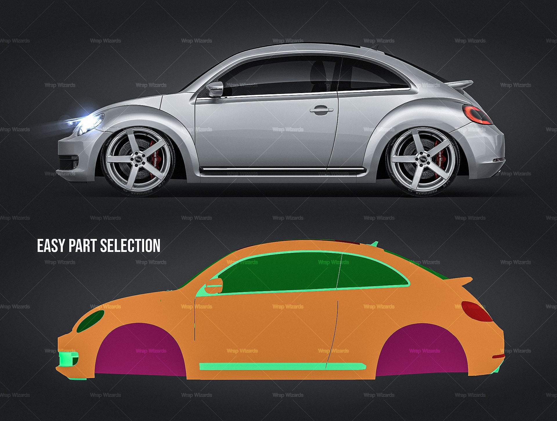 Volkswagen Beetle 2012 glossy finish - all sides Car Mockup Template.psd