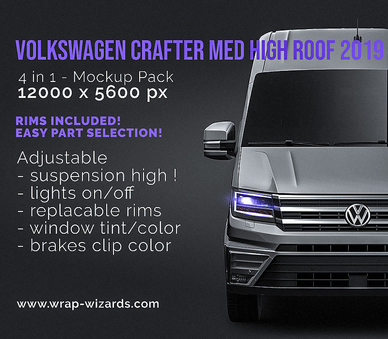 Volkswagen Crafter Medium High Roof L1H2 2019 glossy finish - all sides Car Mockup Template.psd