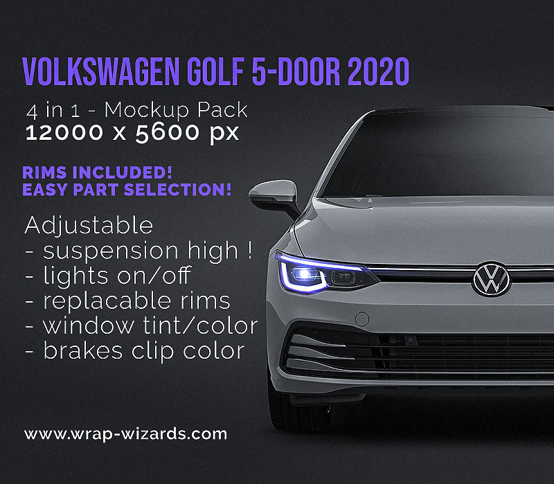 Volkswagen Golf MK8 5-door 2020 all sides Car Mockup Template.psd