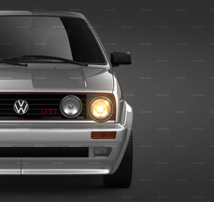 Volkswagen Golf MK2 GTI - all sides Car Mockup Template.psd