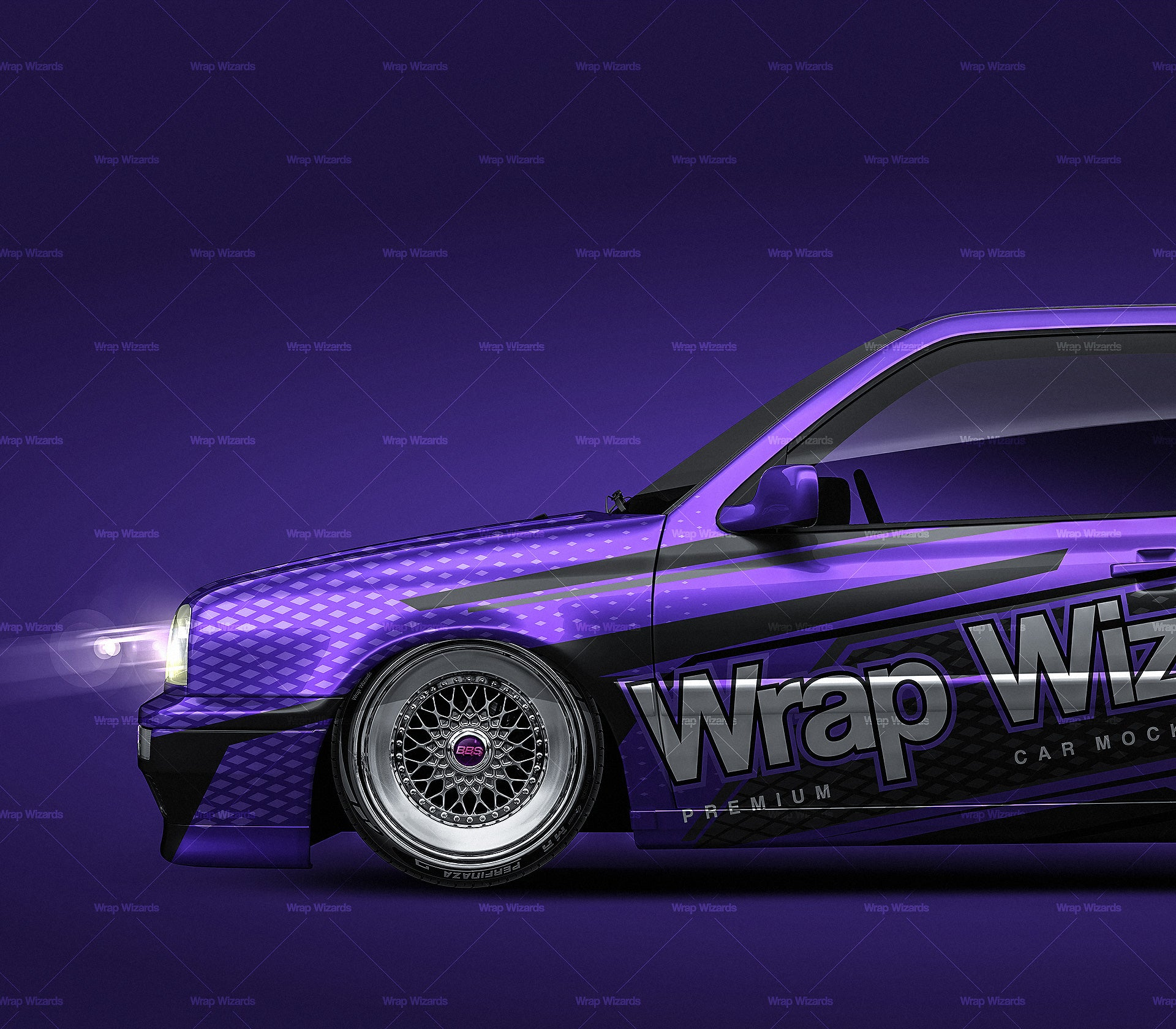 Volkswagen Golf MK3 GTI glossy finish - all sides Car Mockup Template.psd