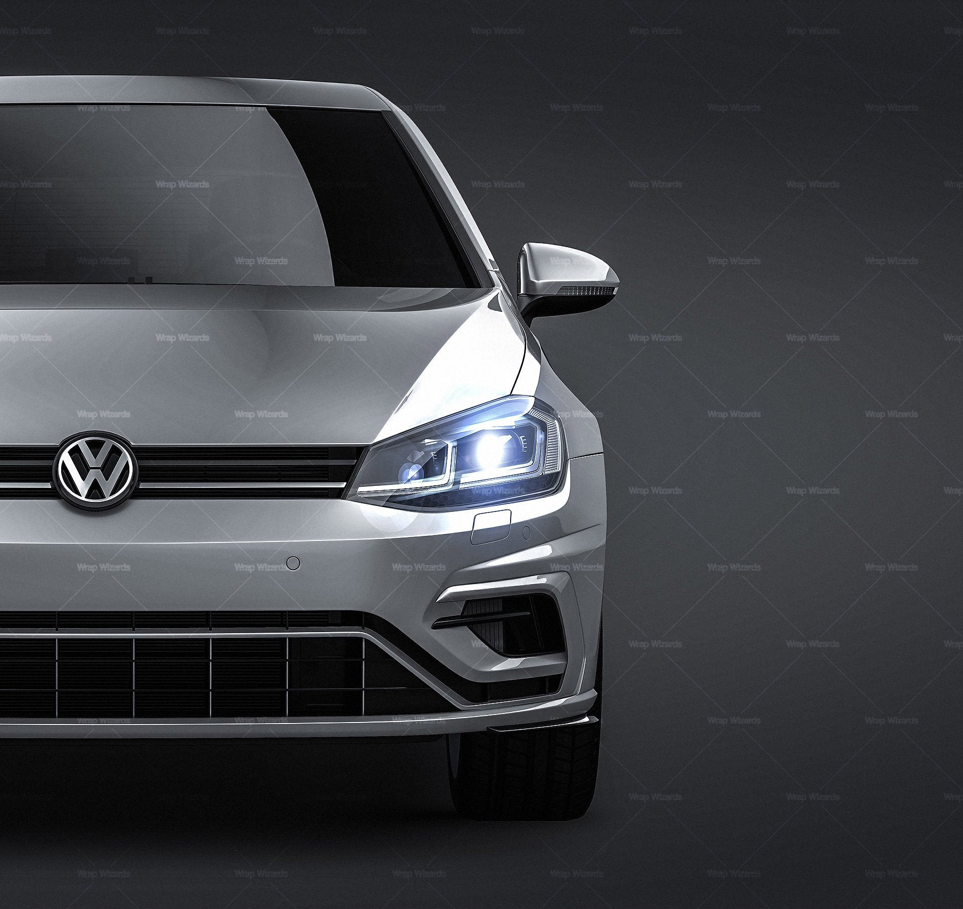 Volkswagen Golf R 2018 - all sides Car Mockup Template.psd