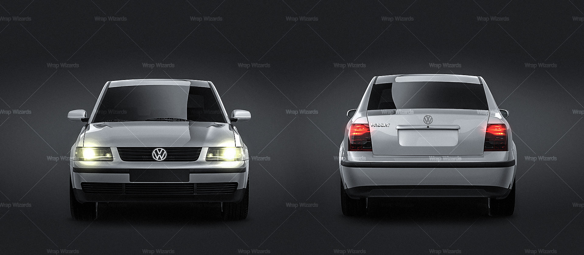 Volkswagen Passat B5 Sedan glossy finish - all sides Car Mockup Template.psd