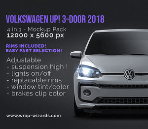 Volkswagen UP! 3-door 2018 all sides car mockup template.psd