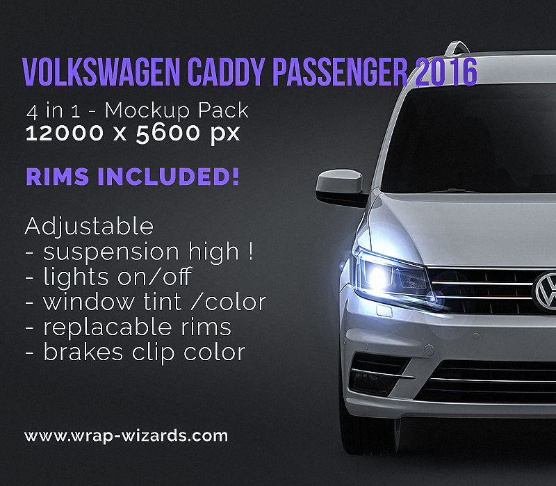 Volkswagen Caddy Passenger 2016 - all sides Car Mockup Template.psd