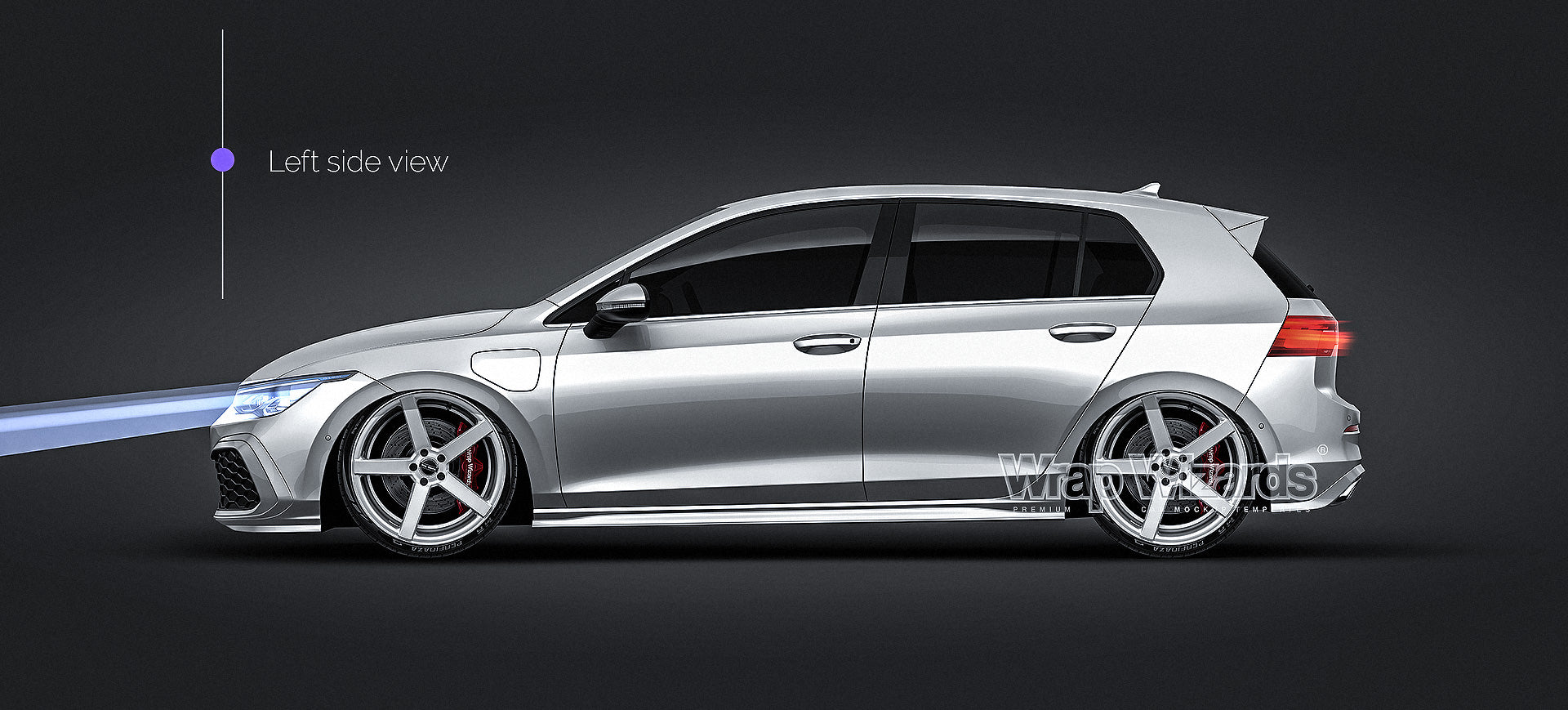 Volkswagen Golf MK8 GTE 2020 satin matt - all sides Car Mockup Template.psd