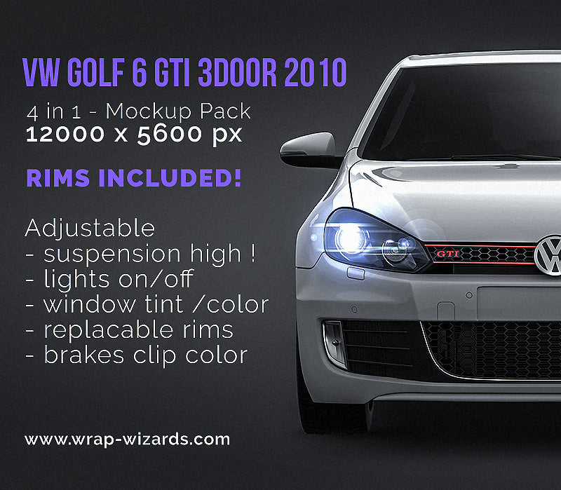 Volkswagen Golf 6 GTI 3door 2010 - all sides Car Mockup Template.psd