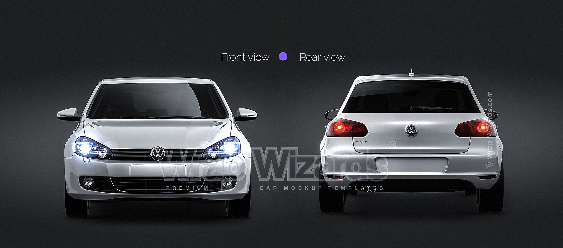 Volkswagen Golf MK6 5-doors - all sides Car Mockup Template.psd