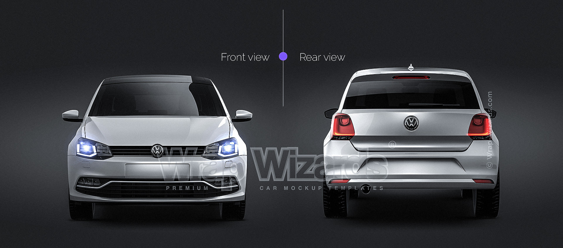 Volkswagen Polo 5-door 2015 glossy finish - all sides Car Mockup Template.psd