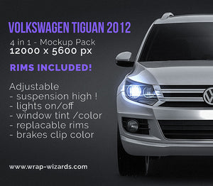 Volkswagen Tiguan 2012 - all sides Car Mockup Template.psd