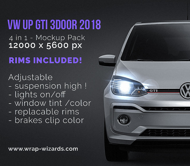 Volkswagen UP GTI 3door 2018 - all sides Car Mockup Template.psd