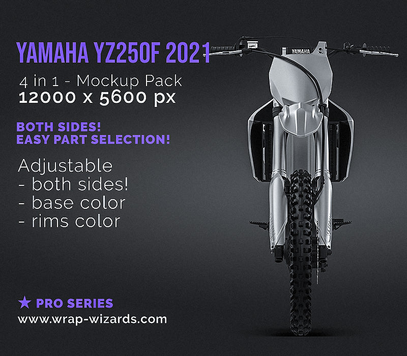 Yamaha YZ250F 2021 Motocross all sides Motorcycle Mockup Template.psd