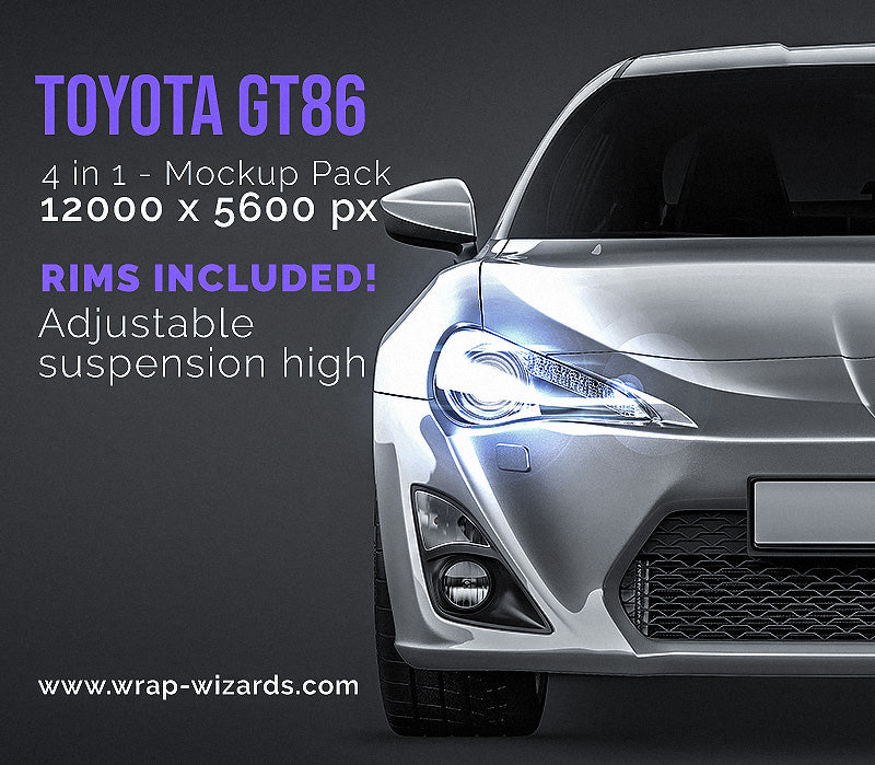 Toyota GT86 all sides Car Mockup Template.psd
