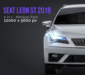 Seat Leon ST 2019 all sides Car Mockup Template.psd