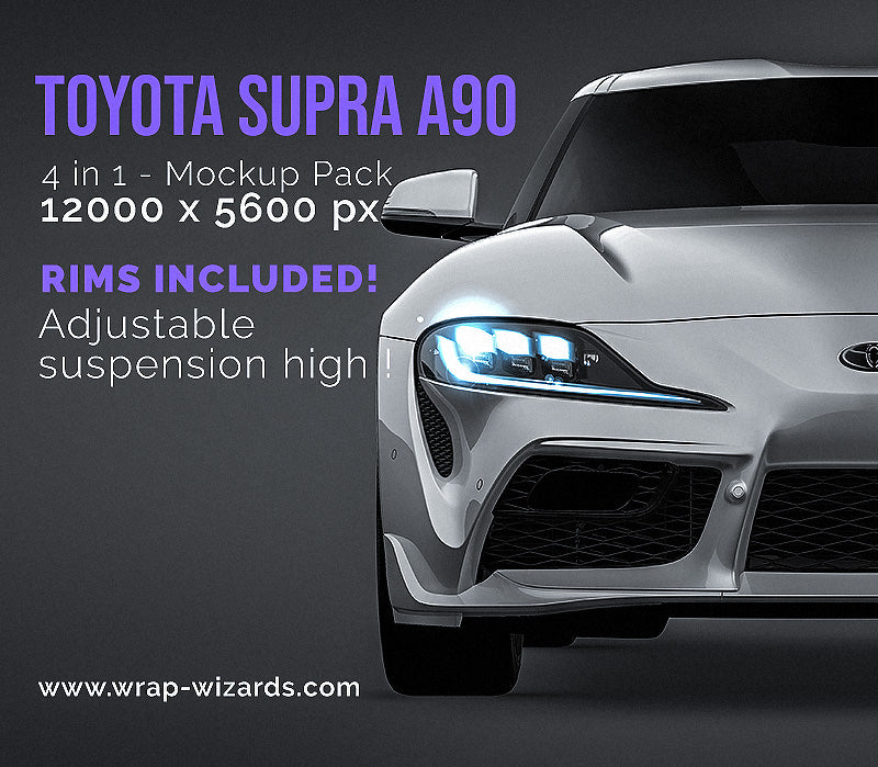 Toyota Supra MK5 A90 all sides Car Mockup Template.psd