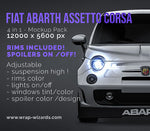 Fiat Abarth Assetto Corsa + spoilers - all sides Car Mockup Template.psd