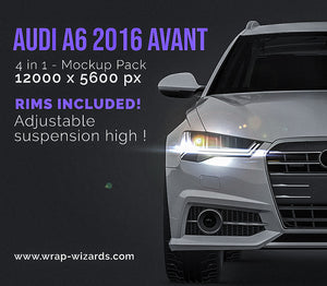 AUDI A6 AVANT 2016 all sides Car Mockup Template.psd